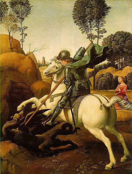 Raffael. Püha Jüri võitlus lohega (õli, 1505, Pariis, Louvre)