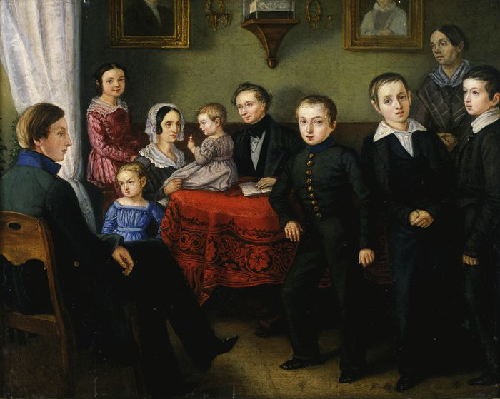 August Georg Wilhelm Pezold. Doeppi perekond. 1845. Õli. Eesti Kunstimuuseum.