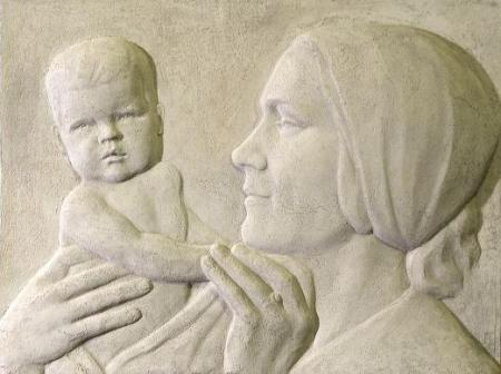 Aleksander Eller, Ema ja laps. Reljeef, 1930ndad (www.e-kunstisalong.ee)