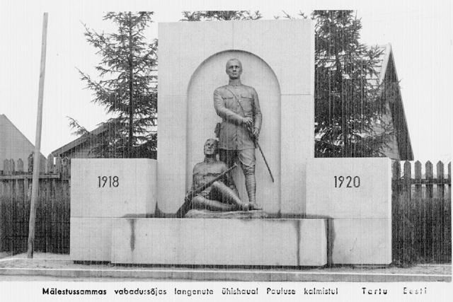Mälestussammas Vabadussõjas langenute ühishaual Tartu Pauluse kalmistul (foto: e-kultuur.ee)