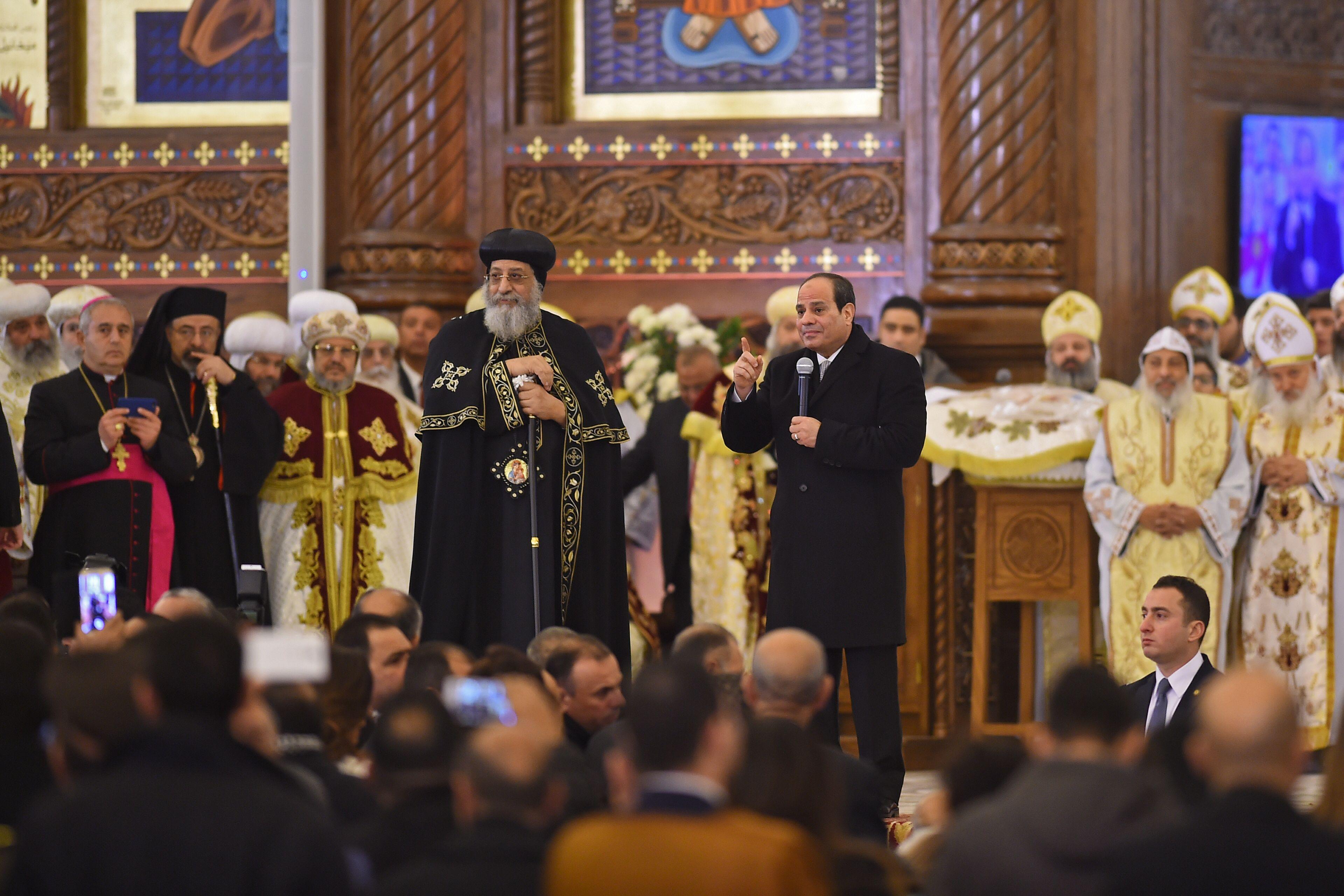 Fotol keskel kopti kiriku paavst Tawadros II ja president Abdel Fattah al-Sisi. Foto: Mohamed el-Shahed / AFP /Scanpix